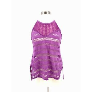 We The Free People Halter Top XS Shredded Fishnet